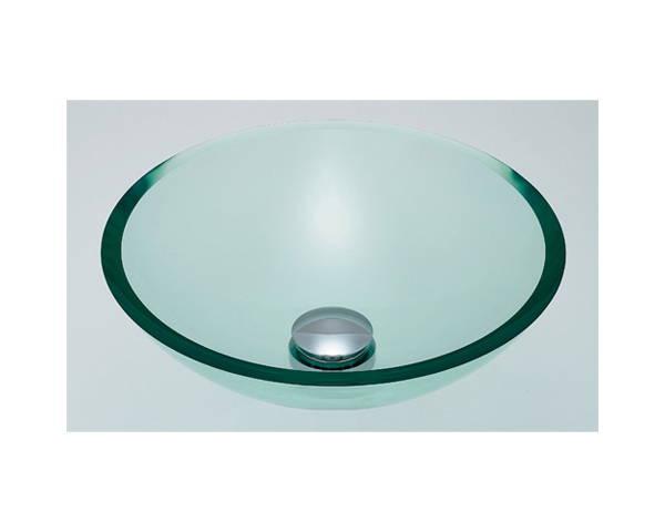 ガラス丸型洗面器クリア 493-025-C【カクダイ】