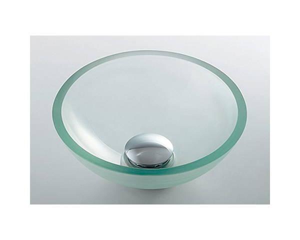 ガラス丸型手洗器クリア 493-028-C【カクダイ】