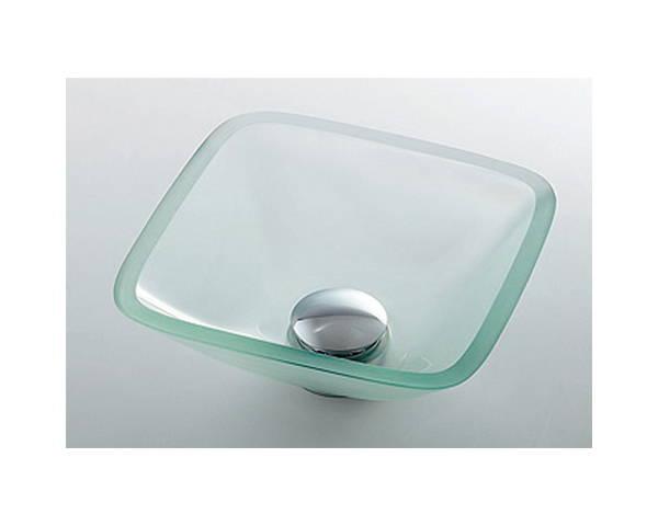 ガラス角型手洗器クリア 493-029-C【カクダイ】