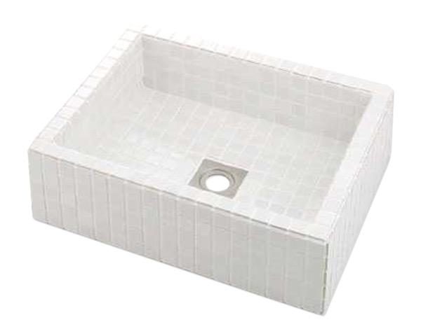 493-143-W 角型洗面器//ホワイト【カクダイ】