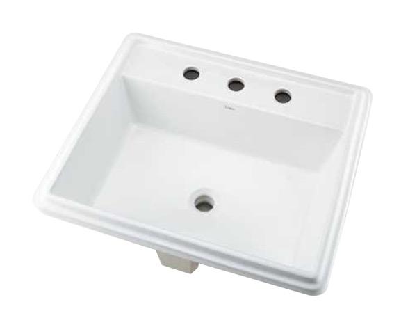493-152 角型洗面器//3ホール【カクダイ】