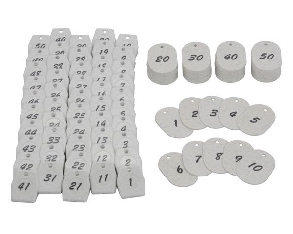 KF970-1クロークチケット 白 1~50 60x40x2.5mm 50組【光】
