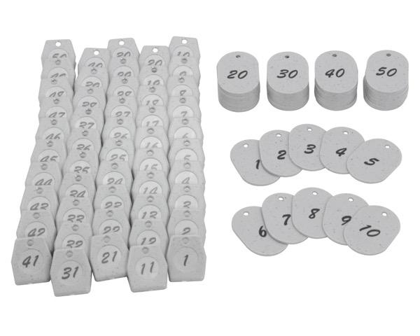 KF970-2クロークチケット グレー 1~50 60x40x2.5mm 50組【光】