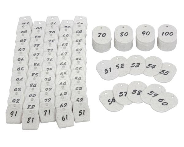 KF971-1クロークチケット 白 51~100 60x40x2.5mm 50組【光】