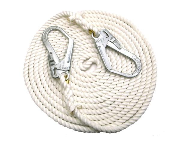 KMS16-10-2HOOK両端大口径フック付 クレモナS荷揚げ用ロープ