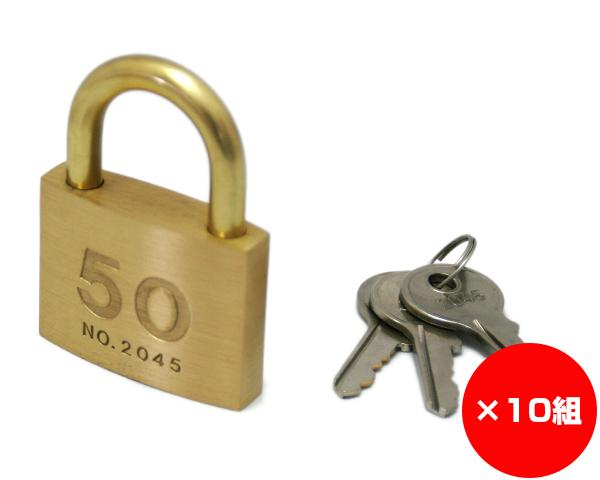 【まとめ買い10組】シリンダー南京錠 50ミリ 2045D 入数1個×10組