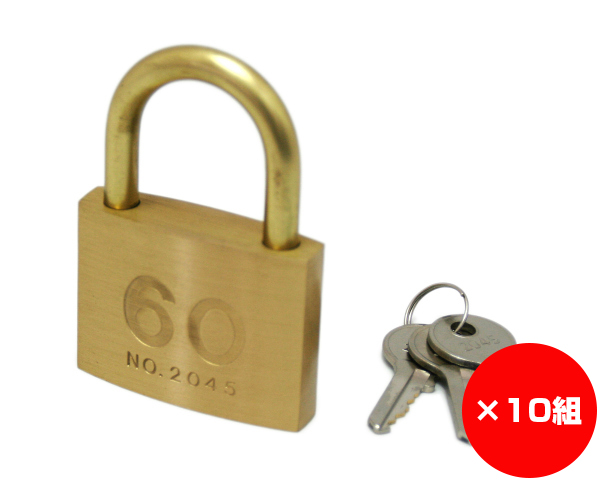 【まとめ買い10組】シリンダー南京錠 60ミリ 2045D 入数1個×10組