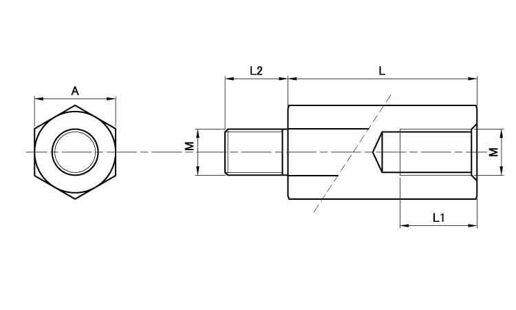 3価W六角スペーサー(BSFE■表面処理(3価ホワイト)■材質(鉄)■規格(474E)■入数300