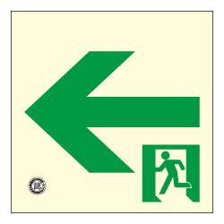【防災用品の事なら当店にお任せください。お買物合計11,000円以上で送料無料】 【壁用】高輝度蓄光式 避難通路誘導標識(左矢印) HLS-15 正方形(小)