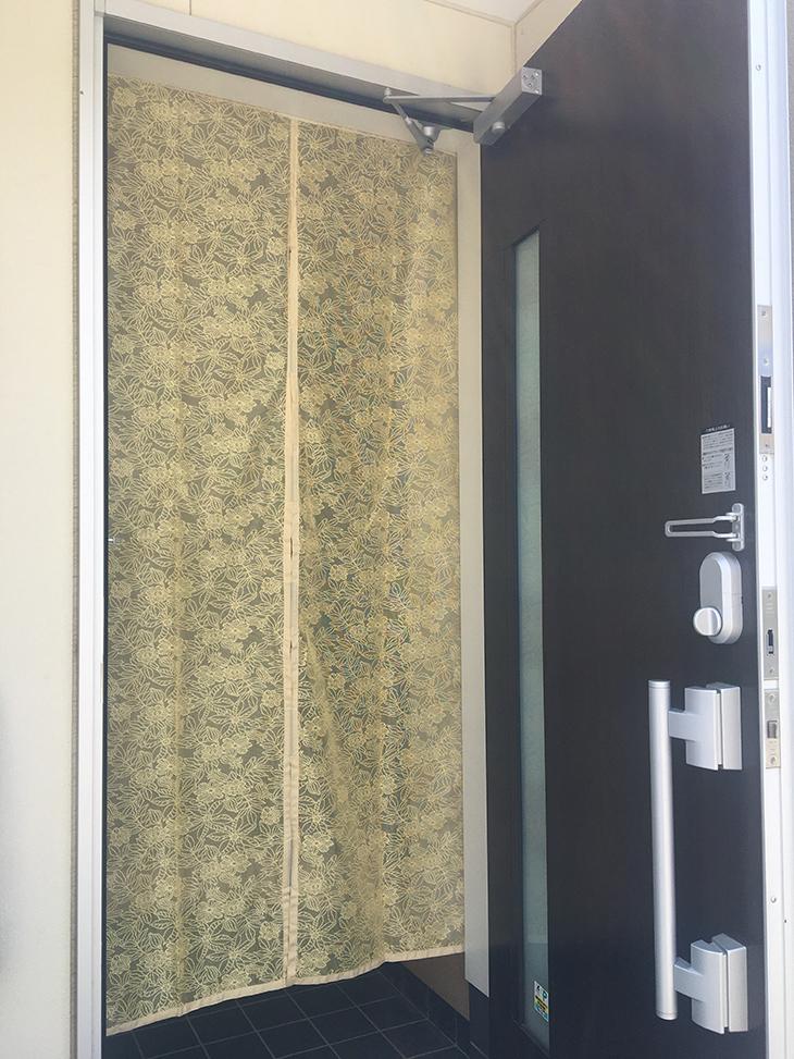 日本メーカー新品 両面テープと面ファスナーで玄関に取り付けできます \在庫一掃 500円キャンペーン 玄関カーテン 北欧調 マグネット 磁石 目隠し 通気性 安全 200×100cm