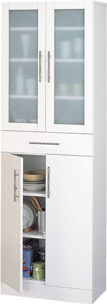 食器棚60‐180・主張し過ぎず食器を目立たさないミストガラスとお手入れ簡単前面ポリ板仕様でインテリアとしても美しい