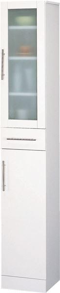食器棚30-180・主張し過ぎず食器を目立たさないミストガラスとお手入れ簡単前面ポリ板仕様でインテリアとしても美しい