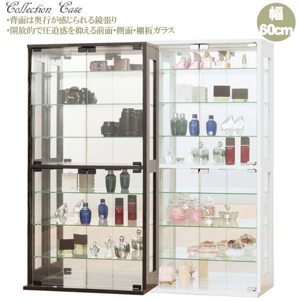 コレクションケース・全面と側面はガラス背面ミラー仕様で自慢のコレクションを引き立たせワンランク上のディスプレイ