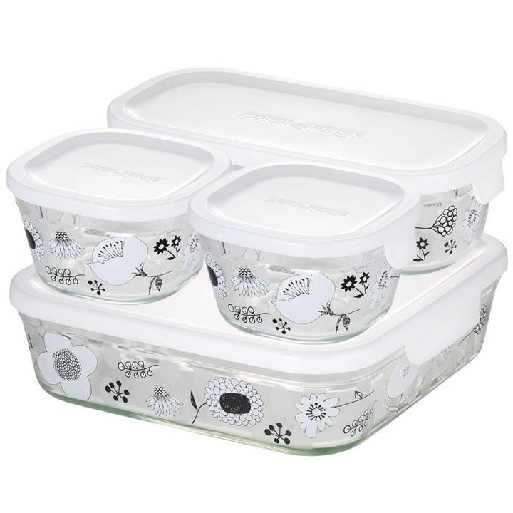 パック&レンジシステムセット・ミニ BLOMMA PS-PRNSND4送料無料 保存 容器 調理 料理 花 AGCテクノグラス 【D】