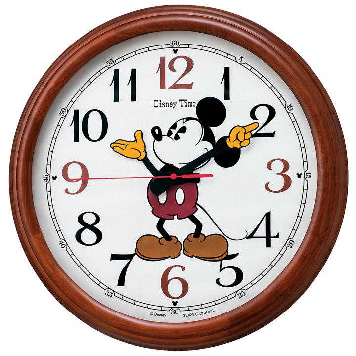 セイコー ディズニー電波掛時計 FW582B送料無料 セイコークロック seikoclock ウォールクロック 壁掛け時計 掛け時計 電波時計 Disney アナログ時計 ミッキーマウス 電池 SEIKO セイコー 茶木地【D】