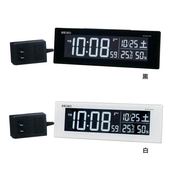 <title>セイコークロック seikoclock トレンド アラーム 電波時計 デジタル時計 スヌーズ LED表示 12時間 24時間 温度 湿度 AC電源 SEIKO セイコー 電波目覚まし時計 DL305送料無料 黒 白 D</title>
