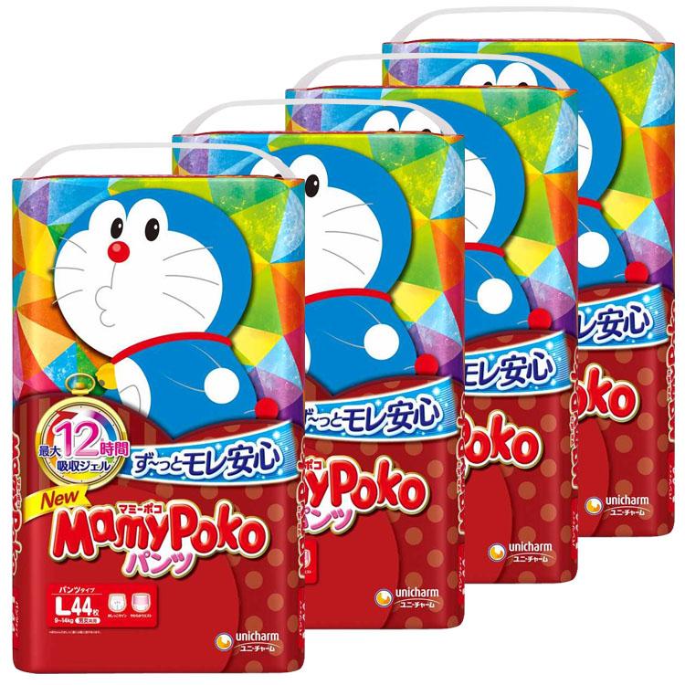 紙おむつ ベビー かわいい パンツ式 MamyPoko 赤ちゃん Lサイズ 夜 お出かけ D マミーポコパンツ ドラえもん おむつ WEB限定 4個セット パンツ 正規認証品 新規格 L 44マイ送料無料