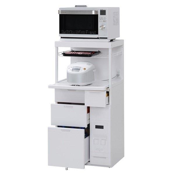 エムケー キッチン収納 レンジ台 CB-338W 米びつ容量12kg 【商品代引ご利用不可】