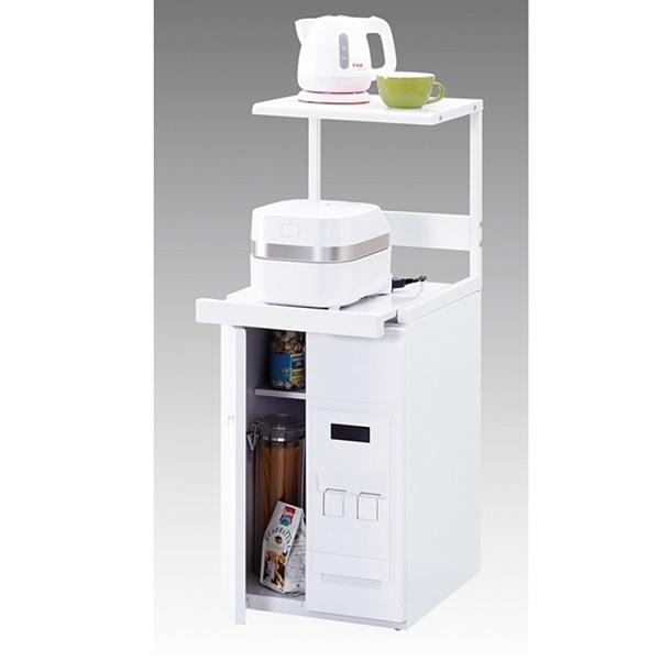 エムケー コンパクト収納庫ファインキッチン 12kg米びつ付 CA-038W ホワイト 【商品代引きご利用不可】