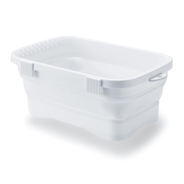 キッチン用おりたたみ洗い桶 伊勢藤 ISETO キッチンソフトタブ ホワイト I-569-3 【幅37.8×奥行24×高さ14.7cm 容量6.6L】