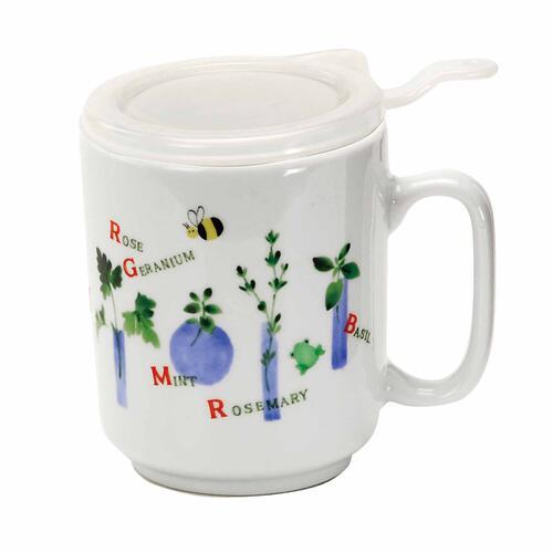 茶葉と水を入れて1分少々レンジでチン するだけで美味しいお茶ができあがり ハーブガーデン 茶こし付茶々マグ マグカップ 食器 和食器 陶器 和風 緑茶 かわいい おしゃれ 紅茶 日本茶 定番から日本未入荷 コーヒー 茶こし付 ふた付 5☆大好評 ハーブティー 美濃焼 お茶