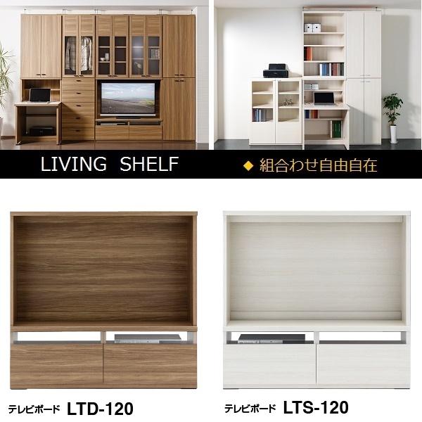リビングシェルフ テレビボード 壁面収納 幅120cm LTD/LTS-120【フナモコ】【LIVING SHELF】【送料無料】