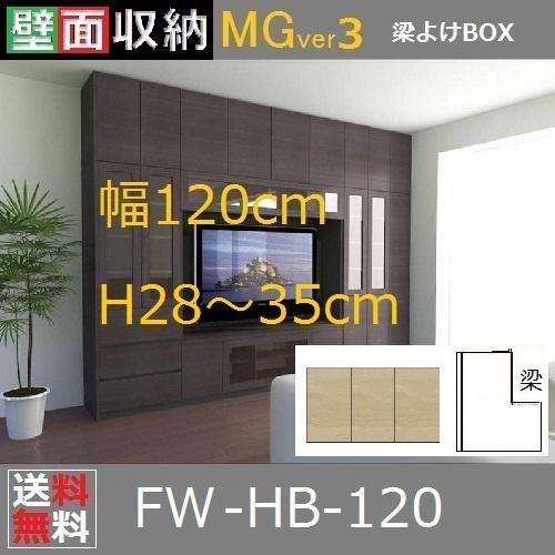 壁面収納すえ木工MG-3 梁避けBOX HB120 H28~35cm D47/D32タイプ W1200×D470/320×H280~350mm【送料無料】