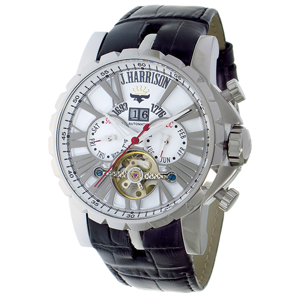 [ジョン・ハリソン] 多機能付ビッグテンプ自動巻&手巻き腕時計 JH-033 SW【送料無料】(※北海道・沖縄・離島除く)【※代引き不可※】 - 【時計】【ジョン・ハリソン】【J・ハリソン】【腕時計】【クリスマス】
