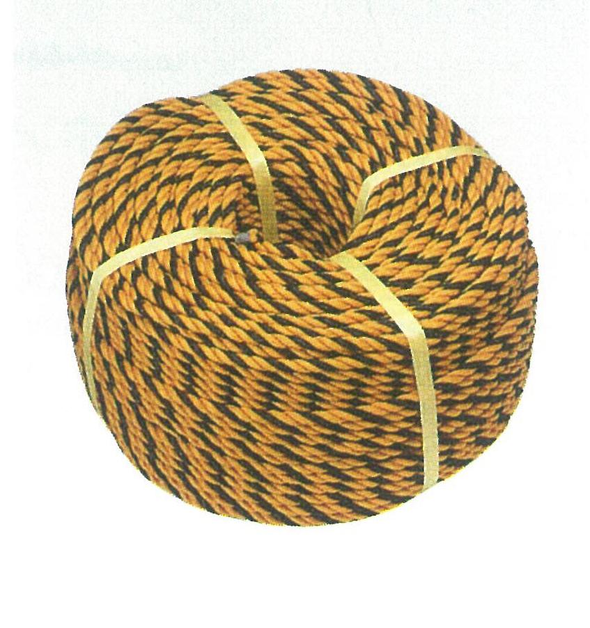 【送料無料、代引き不可】 標識ロープ (ポリエチレン) 200m×9mm(駐車帯/危険場所/トラ柄)