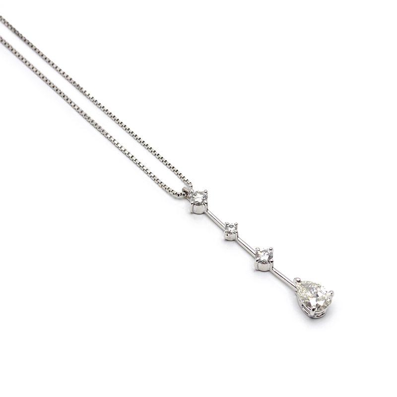 【中古】【送料無料】 ダイヤモンドネックレス K18WG・ダイヤ0.558ct・0.21ct 縦ストレートデザイン 状態優【質屋鑑定品】
