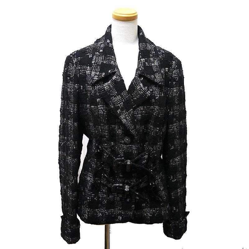 【中古】【送料無料】シャネル CHANEL ツイードジャケット サイズ42 ブラック×シルバー ウールメイン ※肩パッド入り【質屋鑑定品】