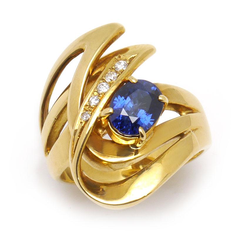 中古Aランク 中古 送料無料 サファイアダイヤモンドリング #11.5 約11.5号 指輪 カーブデザイン 質屋鑑定品 透かし ダイヤ0.06ct K18YG サファイア1.62ct 激安通販 返品送料無料 ソーティング付き