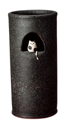【送料無料】【smtb-kd】信楽焼 傘立て 「小窓ねこ傘立」 猫 子猫 インテリア 陶器 焼物 陶芸品【531-04】