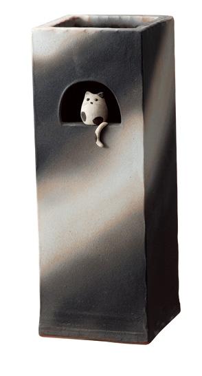 【送料無料】【smtb-kd】信楽焼 傘立て 「小窓ねこ角型傘立」 猫 子猫 インテリア 陶器 焼物 陶芸品【531-05】