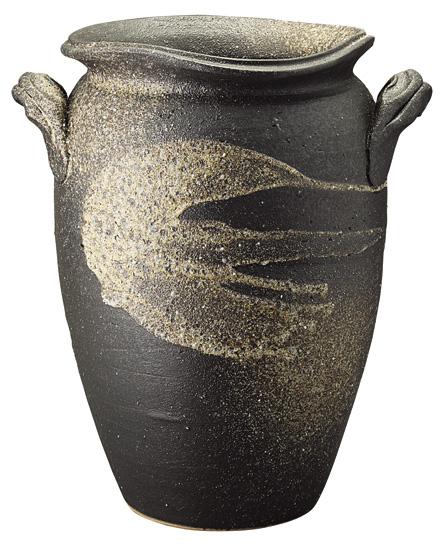 【送料無料】【smtb-kd】信楽焼 傘立て 「黒陶白流し傘立」 インテリア 陶器 焼物 陶芸品【534-04】