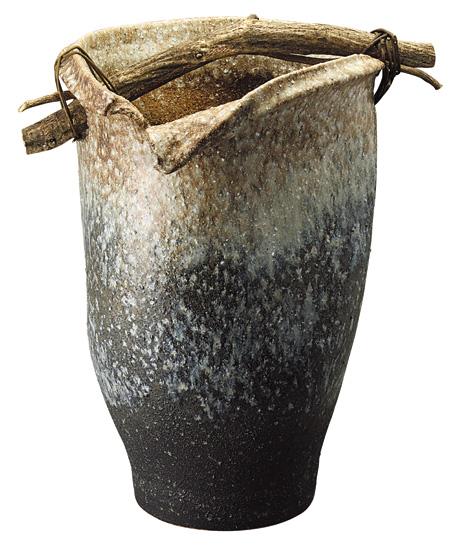 【送料無料】【smtb-kd】信楽焼 傘立て 「白窯変手桶傘立」 インテリア 陶器 焼物 陶芸品【537-01】