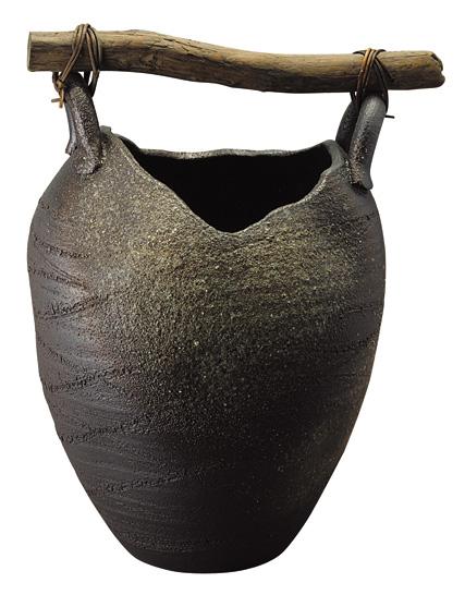 【送料無料】【smtb-kd】信楽焼 傘立て 「壷型流木傘立」 インテリア 陶器 焼物 陶芸品【537-04】