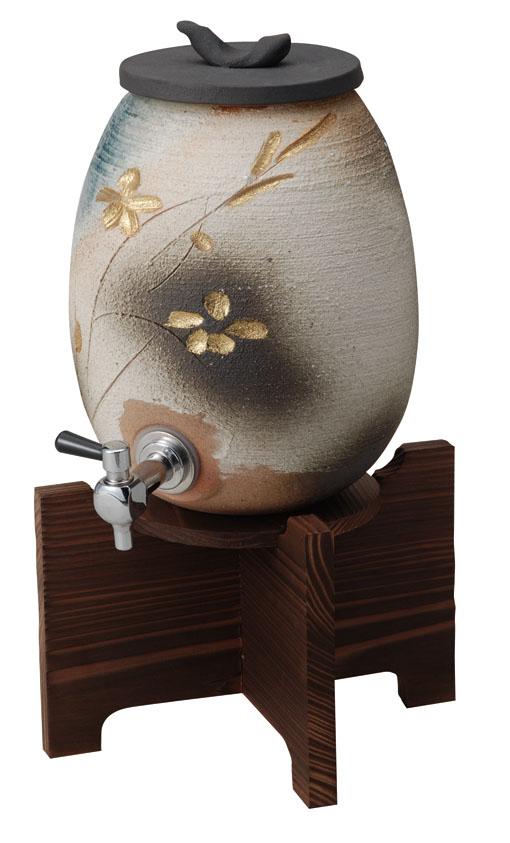 【送料無料】【smtb-kd】信楽焼 焼酎サーバー「金彩花彫サーバー(コルク栓なし)」酒器 陶器 焼物 陶芸品【549-01】