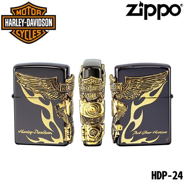 ZIPPO HARLEY-DAVIDSON HDP-24‐ジッポ ジッポライター ハーレーダビッドソン オイルライター 両面加工 日本限定 正規品