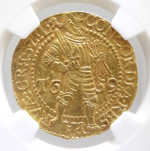 【送料無料】オランダ ZEELANDゼーラント州 2ダカット金貨 1659年 NGC【AU53】