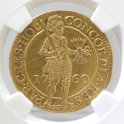 オランダ HOLLAND ホラント 2ダカット金貨 1760年 NGC【AU55】