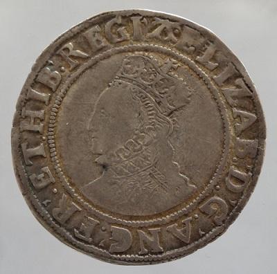 【送料・代引手数料無料】中世イギリス エリザベス1世 シリング銀貨 6次 ローズ・年号無し 1582-1600年 VF