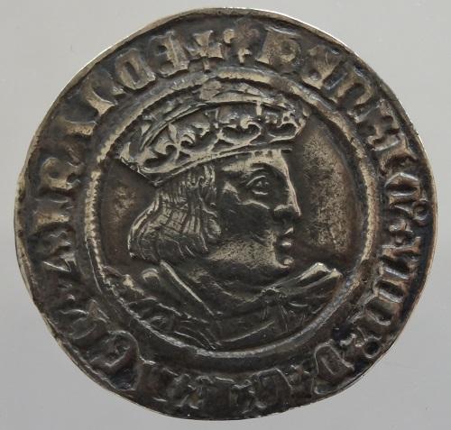 中世イギリス ヘンリー8世 Groat(4ペンス)銀貨 1526-1544年 VF+