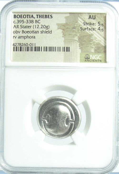 古代ギリシャ ボイオーティア 盾とアンフォラ ステーター銀貨 (395-338 BC)NGC鑑定【AU】