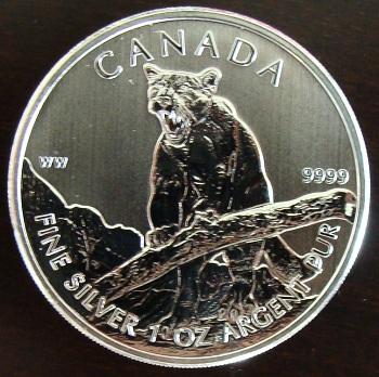 カナダ野生動物シリーズクーガー 5ドル銀貨2012年