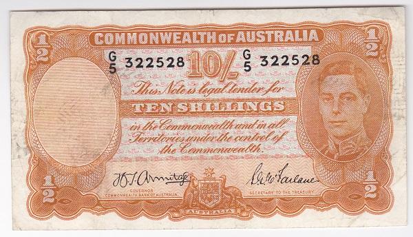 オーストラリア ジョージ5世 Armitage-McFarlane 10シリング紙幣 1942年 極美品