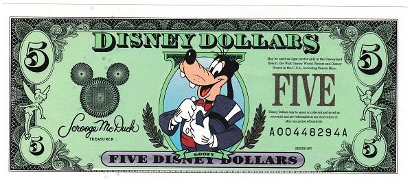 ディズニーダラー グーフィー 5ドル紙幣 1997年 未使用