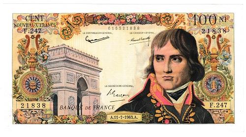 フランス ナポレオン・ボナパルト 100フラン紙幣 1963年 極美品+