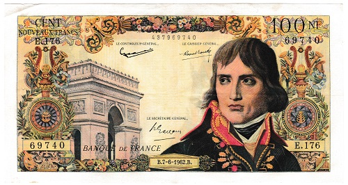 フランス ナポレオン・ボナパルト 100フラン紙幣 1962年 美品+