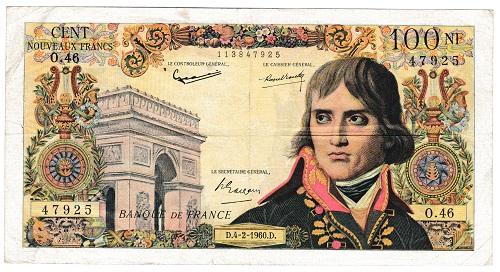 フランス ナポレオン・ボナパルト 100フラン紙幣 1960年 美品